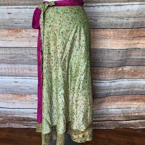 Long India BOHO Sari Silk Blend Wrap Skirt